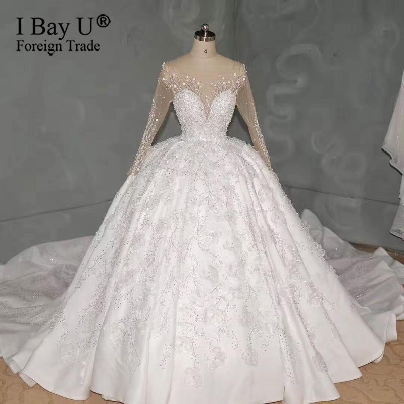 Роскошное Свадебное платье 2020 на заказ с объемным цветком и жемчугом, свадебное платье с вуалью 3 м, кружевное свадебное платье с бисером, robe de mariée de luxe
