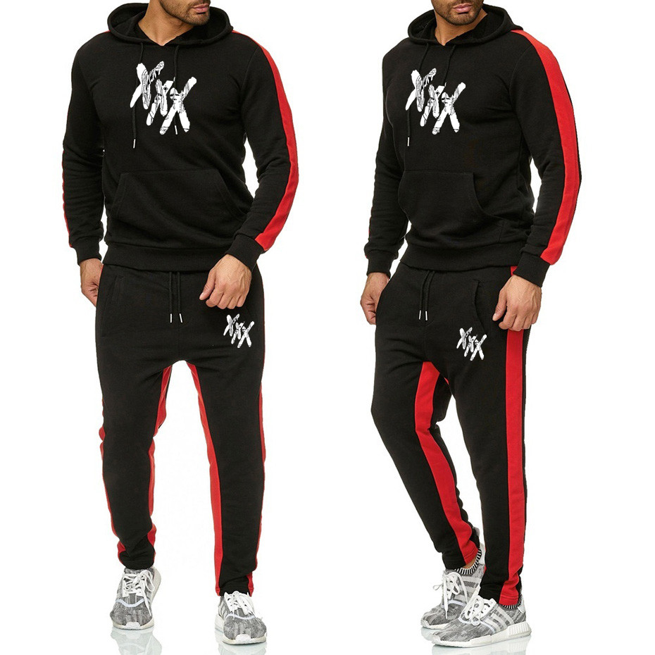 Casual Tracksuit Mens Set Winter Brand Two Piece Sets All Cotton Inner Fleece Thick Hooded 2Jacket + Pants Sporting Suit Male