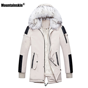 Image 2 - Зимнее Мужское пальто с меховым капюшоном, длинная хлопковая куртка, мужские повседневные парки, модные толстые теплые пальто, Мужская брендовая одежда SA611