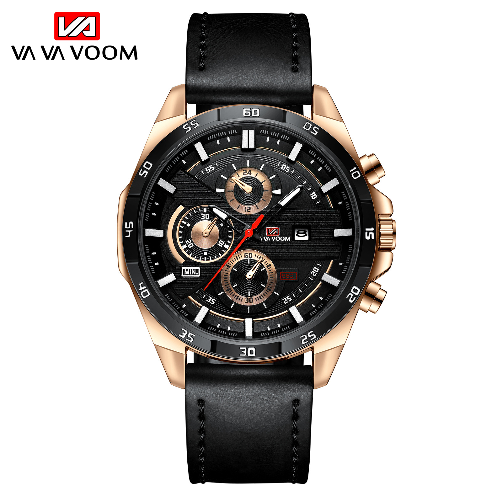 VAVA VOOM Brand Men Quartz Watch Leather Strap Business Wristwatch Men Military Casual Sport Watches Mens Relogio Masculino 2020