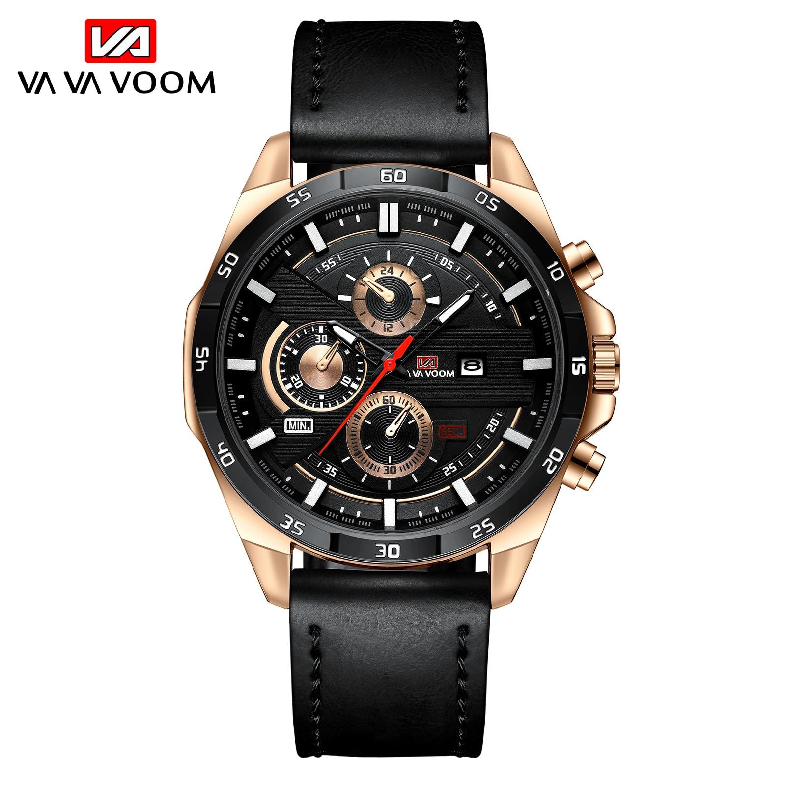 VAVA VOOM Brand Men Quartz Watch Leather Strap Business Wristwatch Men Military Casual Sport Watches Mens Relogio Masculino 2020