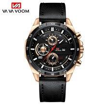VAVA VOOM Brand Men Quartz Watch Leather Strap Business Wristwatch Men Military