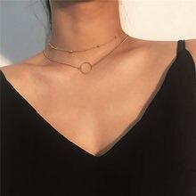 Collier Ras Du Cou pour femmes, deux couches, rond, couleur or, à la mode, nouvelle collection