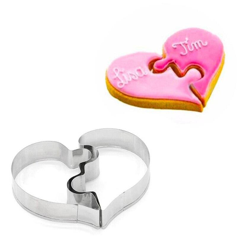 Moules à Biscuits en forme de cœur, 2 pièces, gauche et droite, pour Cookie en forme de cœur, amour amusant, puzzle de mariage, romantique, moule à Biscuits