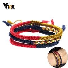 Vnox Handmade Lucky Rope Knots Bracelet for Men Women Tibetan Buddhist Good Luck Tibet Monks Meditation Prayer