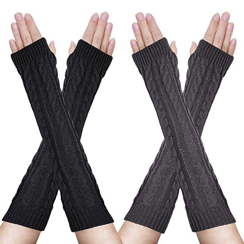 Soft Wrist Arm Hand Sleeve Warmer Knitted Mittens Women Ladies Winter Semi -Long Fingerless Mitten Female Guantes