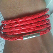 Free shipping hand-woven multi-layer DIY leather rope bracelet Personalized 5-layer leather buckle hand rope