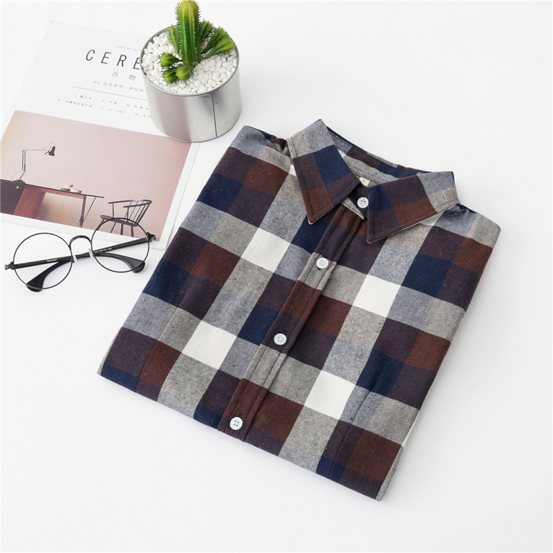 2020 New Women Blouses Brand New Excellent Quality Cotton 32style Plaid Shirt Women Casual Long Sleeve Shirt Tops Lady Clothes 34