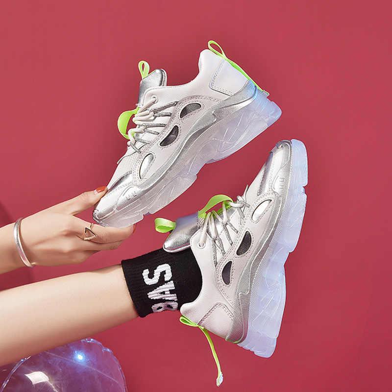 2019 nuevas zapatillas de deporte gruesas de primavera para mujer, zapatos de correr, marca de plataforma, suela de gelatina transparente, zapatillas de malla de cristal transpirables