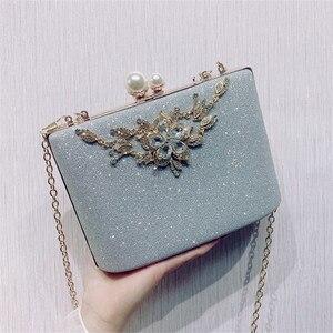 Image 5 - ZD1422 sac à main argenté de soirée pour femmes, pochette de luxe de styliste, sacoche à épaule en cristal Vintage, bourse de mariage