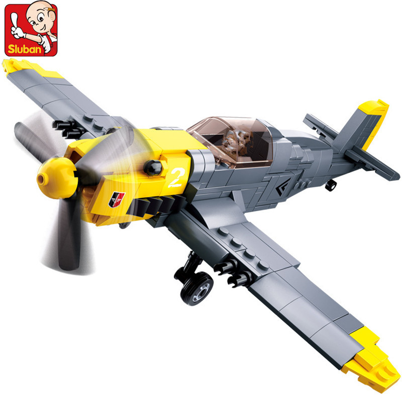 289Pcs WW2 Military Germany Army Air Forces <font><b>BF</b></font>-109 Fighter Plane Model Building Blocks Sets DIY Bricks Toys for <font><b>Children</b></font> image