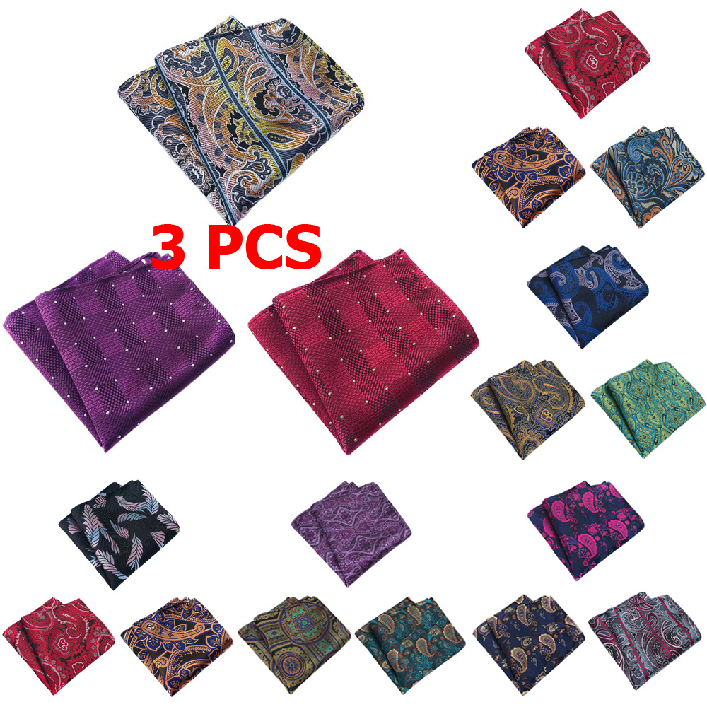 3 PCS Men Fashion Paisley Flower Pocket Square Handkerchief Wedding Party Hanky