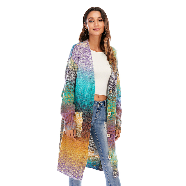CGYY Women's Lightweight Rainbow Color Striped  Loose Causal  Long Sleeve Open Front Breathable Cardigans Sweater With Pockets 3
