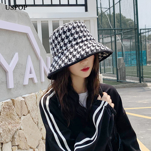 Image 5 - USPOP spring autumn hats women Black white plaid hats female tweed plaid bucket hats