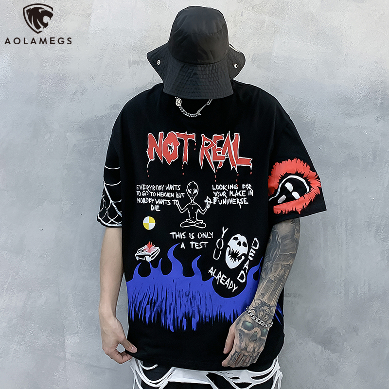 Aolamegs Men's T Shirt Letter Print Fashion Punk Cozy Hip Hop Sleeve Oversize High Street Couple All-match Colorful Streetwear