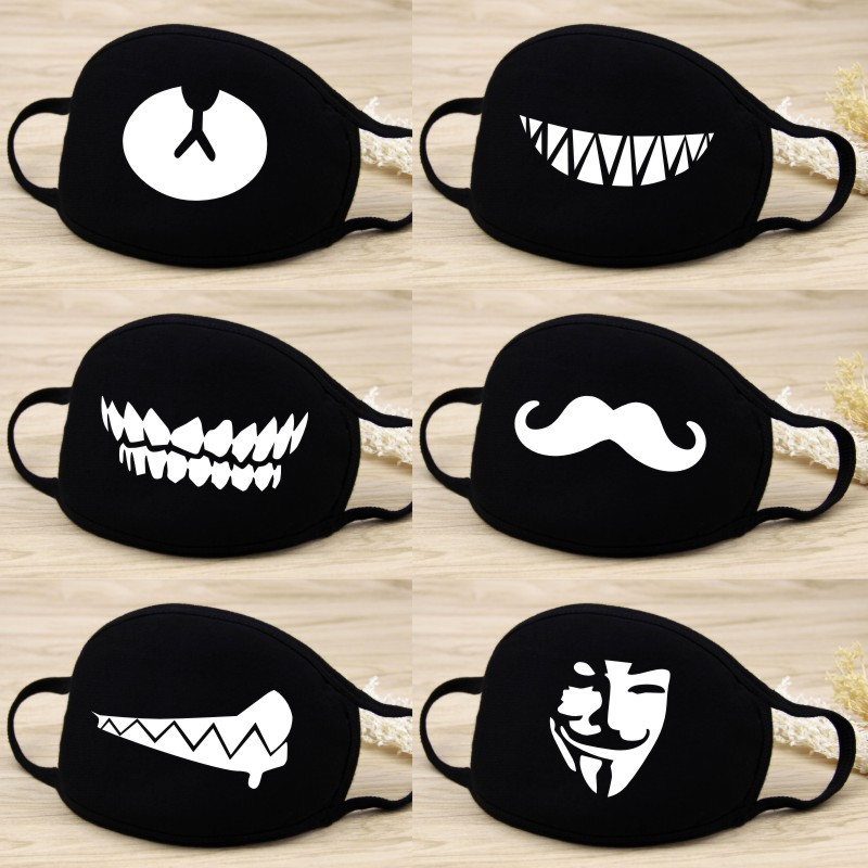 Men Women Mask Winter Mask Cute Teeth Smile Creative Cotton Cool Travel Mouth Mask Decorative Dust 2020 New Breathable Design