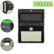 100LED Bulbs Outdoor Solar Lamp Walkway Light PIR Motion Sensor Wall Waterproof Power Sunlight for Garden Decoration
