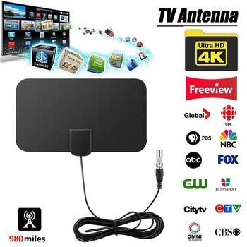 Wysokiej jakości 980 mil HD TV anteny kryty Mini HD cyfrowa antena telewizyjna wysokiej jakości szybka dostawa wsparcie Drop Shipping tanie i dobre opinie Rondaful VHF (170-240Mhz) UHF( 470-860Mhz) Indoor 980 Miles HD TV Antenna