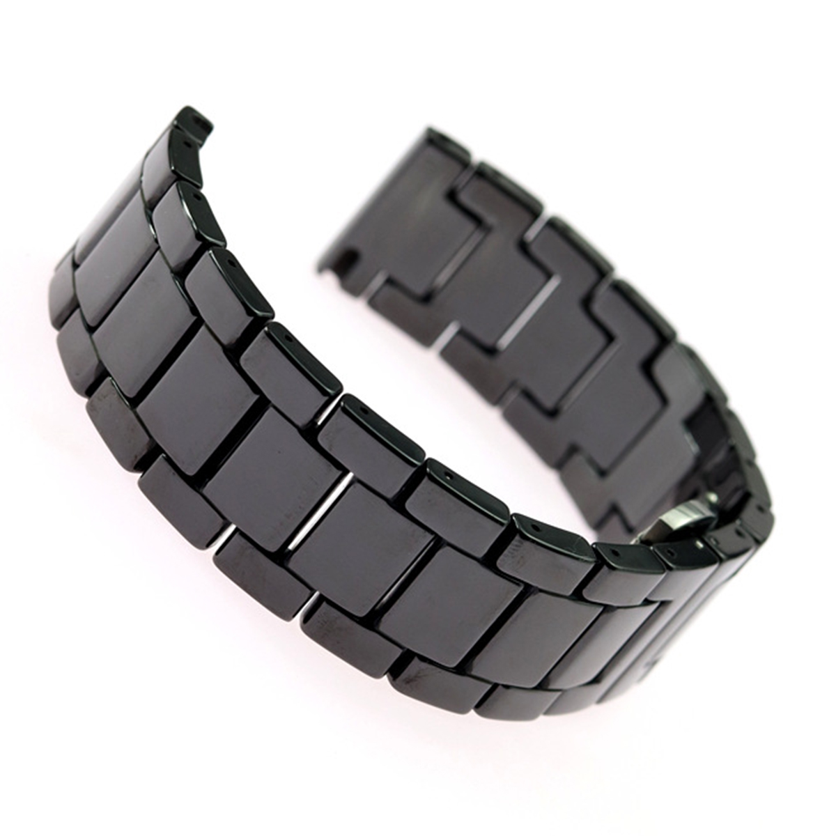 Replacement Ceramic Strap Universal Metal Folding Clasp Watch Band Strap 20mm / 22mm