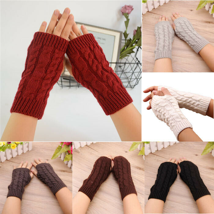 Women Stretchy Long Sleeve Fingerless Gloves Knitted Mittens Arm Warmers Sleeves