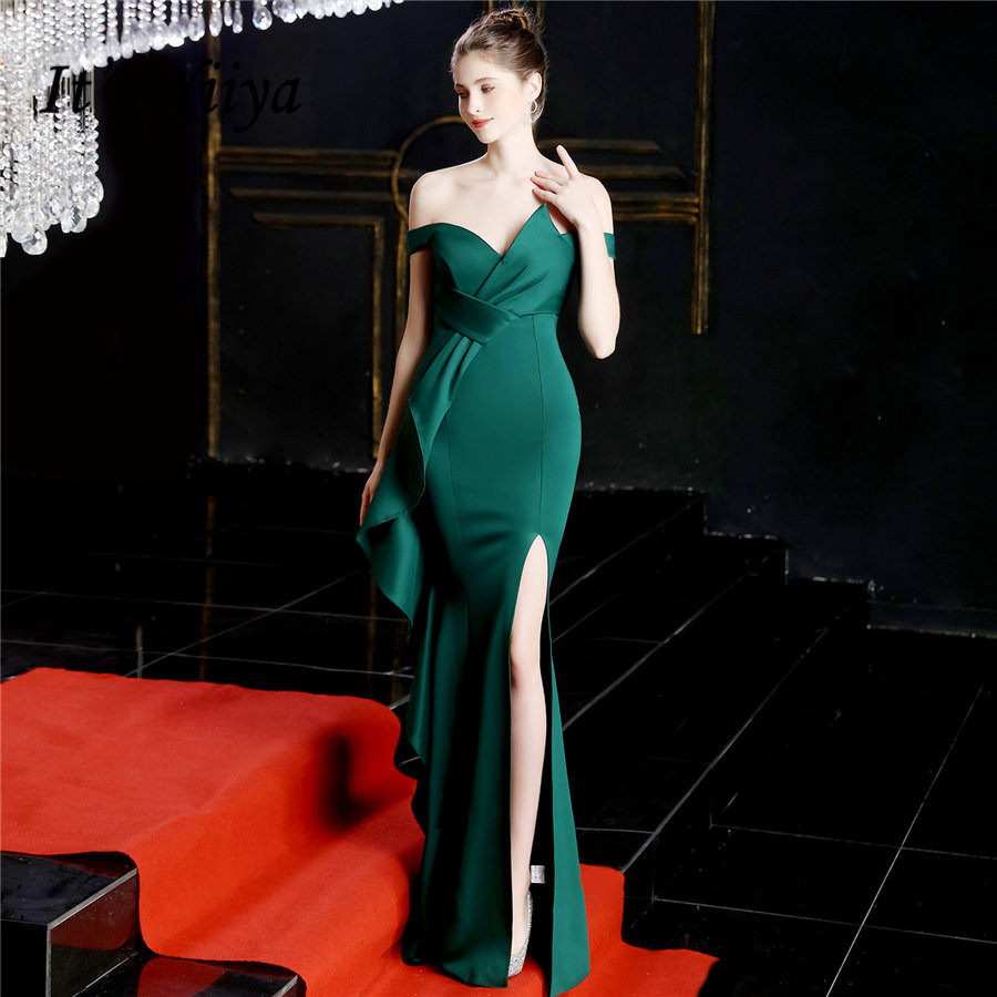 It's Yiiya Green Formal Dress Boat Neck Short Sleeve Evening Dresses 2020 Off Shoulder Zipper Mermaid Long Evening Gowns DX243