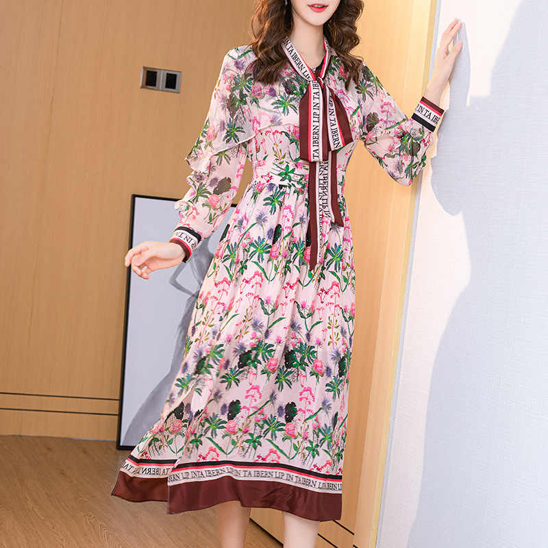 Primavera Verano 100% Vestido largo de seda Real para mujer Vestido largo estampado Floral elegante Vestido de fiesta de Oficina de las señoras Vestido Verano 012