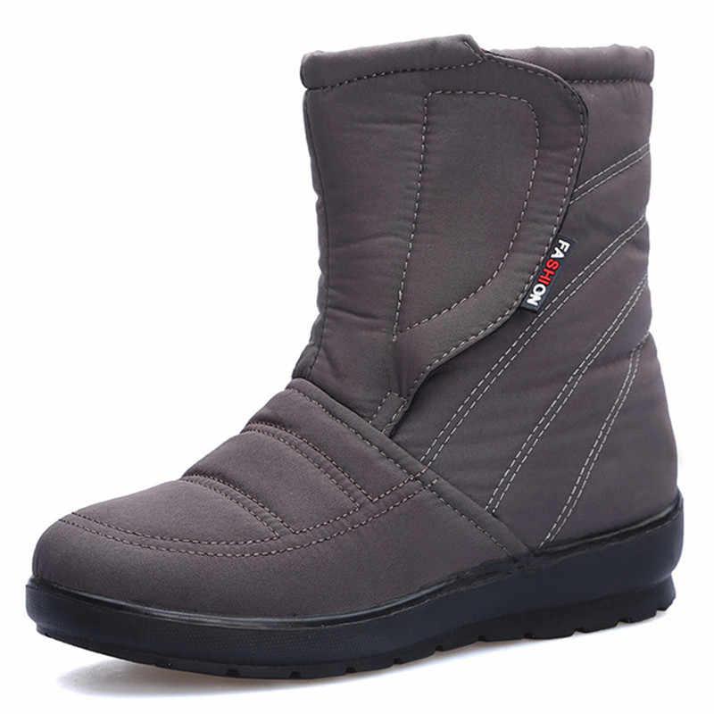TIMETANGHigh kwaliteit Vrouwelijke winter warm zwart rood Blauw grijs bruin dames enkel waterdichte casual platte snowboots met korte laars