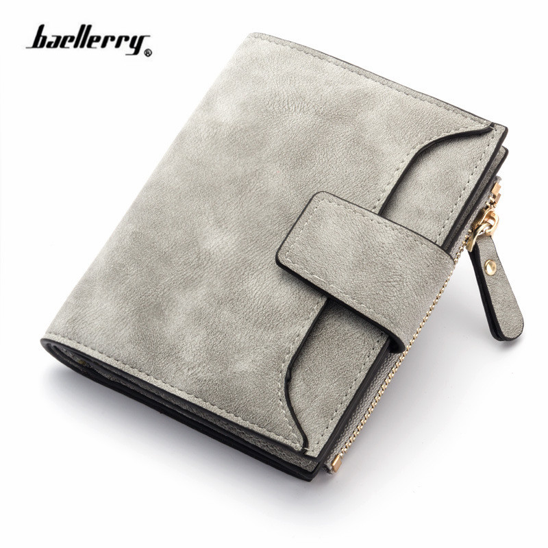 Fashion Lady Letter Wallet Zipper Short Clutch Solid Vintage Matte Women Wallet Fashion Small Female Purse Short Purse