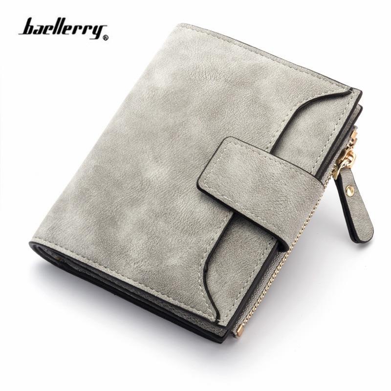 Fashion Lady Letter Wallet Zipper Short Clutch Solid Vintage Matte Women Wallet Fashion Small Female Purse Short Purse