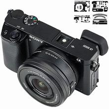 Cuerpo de la cámara y textura de cuero de la lente película protectora etiqueta de protección para Sony A6000 y 16 50mm lente para la decoración de cámaras
