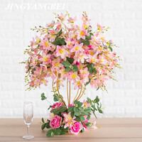 Artificial dining table flower ball + gold iron bracket set DIY wedding road flower window decoration flower rose magnolia