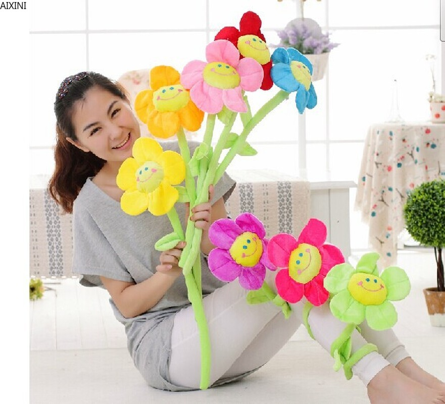 1Pcs Artificial Flower Decor Plants Christmas Floral Bouquet For Wedding Party Home Decorations Cartoon Sun Flowers Plush Toys