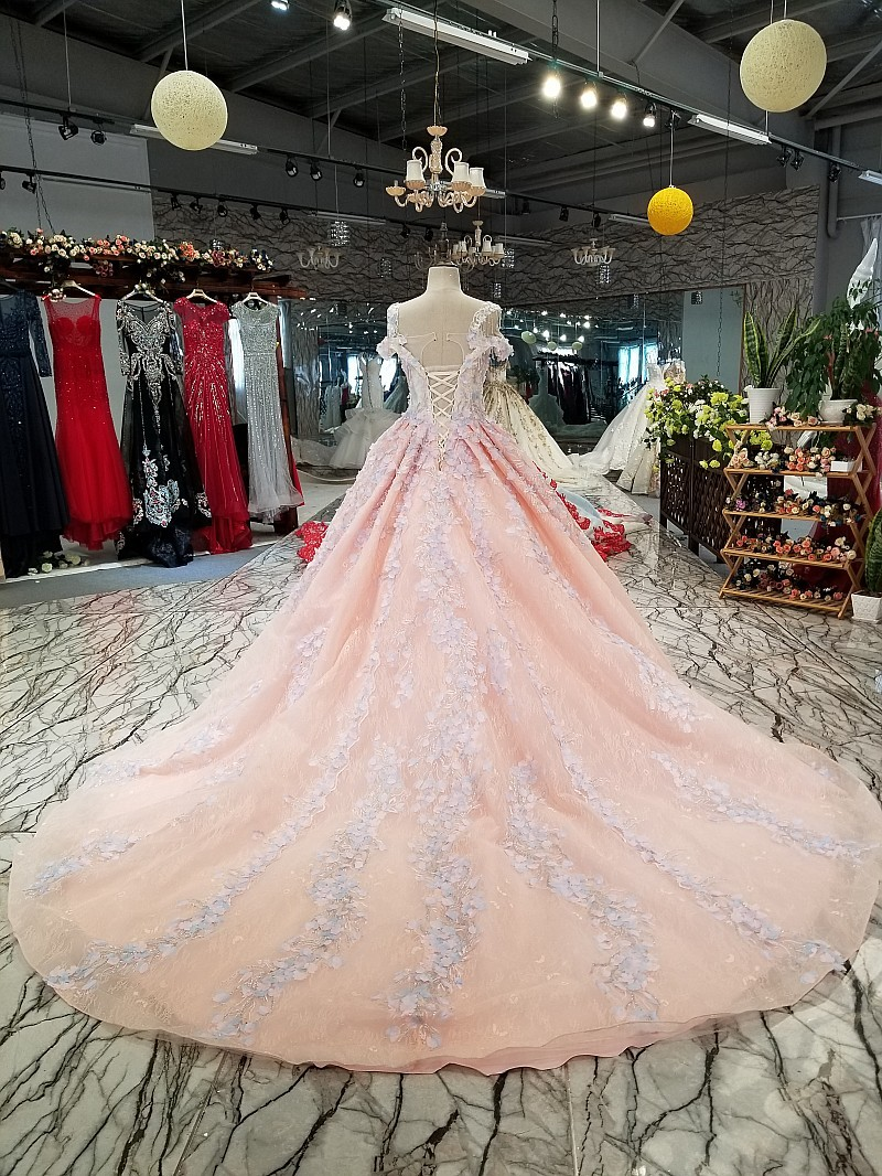 Image 2 - BGW 3229ht Pink Evening Dress 2020 With Light Purple Flowers Big O neck Sexy Spaghetti Strap Ball Gown Party Dress Free ShippingEvening Dresses   -