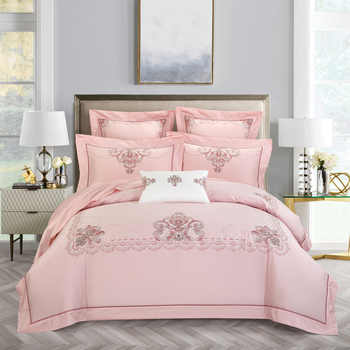 Chic Home Embroidery Egyptian Cotton Blossom Vintage Bedding set Queen King size 4Pcs Soft Duvet Cover Bed sheet 2Pillow shams