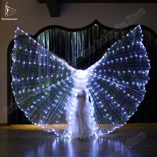 Neue Frauen Bauchtanz Isis Flügel Led Dance Schmetterling Flügel Licht Up Lampe Requisiten Weiß Stafe Leistung 360 Grad Sticks