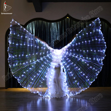 New Women Belly Dance Isis Wings Led Dance Butterfly Wing Light Up Lamp Props White Stafe Performance 360 Degrees Sticks