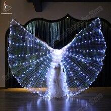 Nuevas mujeres danza del vientre Isis alas Led danza mariposa ala luz arriba lámpara Accesorios blanco Stafe rendimiento 360 grados palos