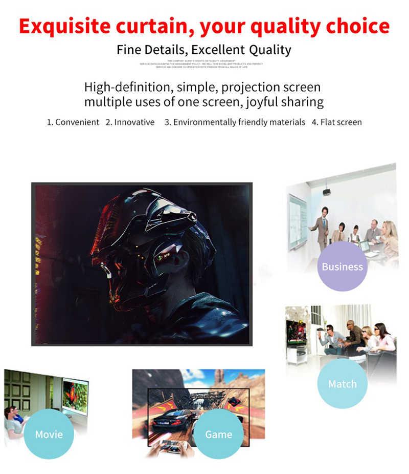 프로젝터 스크린 60 72 84 100 120 130 인치 휴대용 프로젝터 16:9 프로젝션 스크린 삼각대 풀 매트 3d HD 프로젝터 천