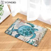 Alfombrillas de cocina de piso de baño con diseño de pulpo y ballena con estampado de tortuga alfombras de cocina 40x60 50x80cm Anti antideslizante alfombra