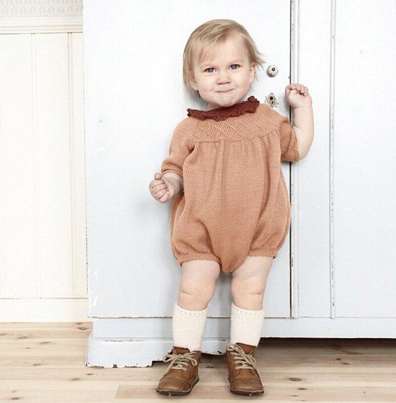 2021 nowe dziewczynek dzianiny Romper Vintage Toddler Boy ubrania pajacyki noworodka kombinezon z długim rękawem dla niemowląt kombinezony jednoczęściowe