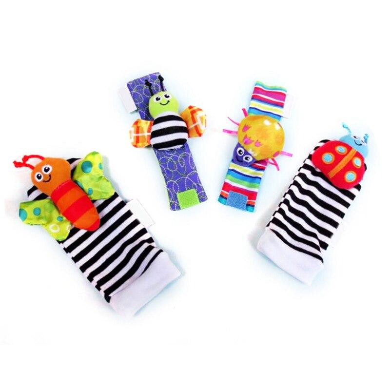 2019 New Cartoon 4 Piece Zebra Baby Infant Soft Socks Wrist Rattle Set Educational Best Newborn Gift Toys For Children Boy Girl