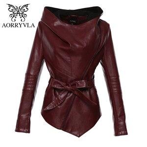 AORRYVLA Neue Herbst Frauen Leder Jacke Plus Größe Hoodie Faux-Leder Moto Jacke Dünne Art Asymmetrische Faux-Leder jacke