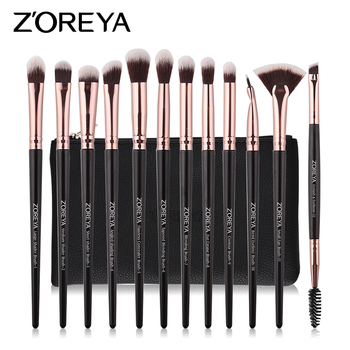 ZOREYA 12pcs Makeup Brushes Set Soft Synthetic Hair Make Up Brush Blending EyeShadow Eyeliner Cosmetics Tools
