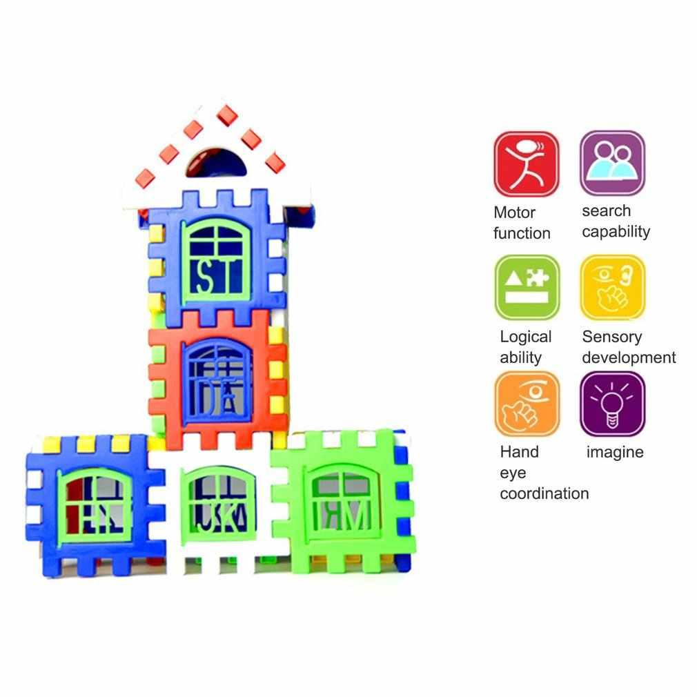 24 sztuk/partia DIY plastikowe blokujące klocki dom budowlany zestaw wczesne edukacyjne oświecenie zabawki dla dzieci