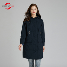 MODERN NEW SAGA 2020 Women Windbreaker Trench Coat Spring Fashion Long Coat Hood
