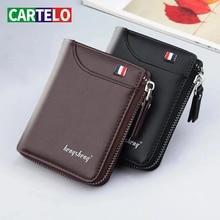 CARTELO men wallets Genuine Leather short fashion coin purses Credit card holder Retro  business purses men free shipping