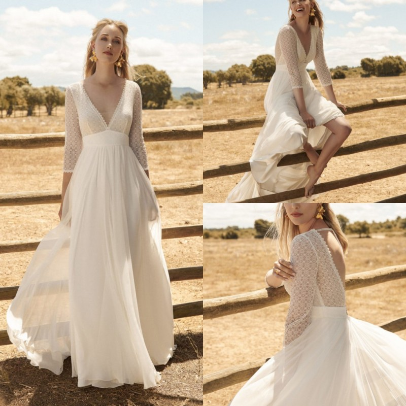 2020 Bohemian Wedding Dress Vintage Lace Appliqued V Neck 3/4 Long Sleeve Country Beach Boho Bridal Gowns