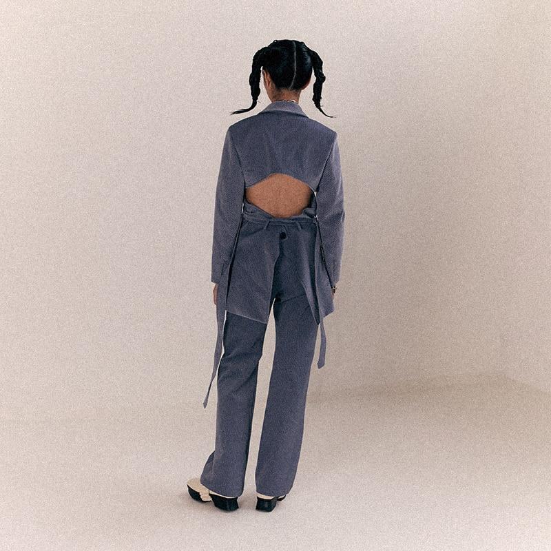 [EAM] Высокая талия Флокирование черно зеленые длинные широкие брюки новые свободные брюки женские модные весенне осенние 2019 1B912 - 3