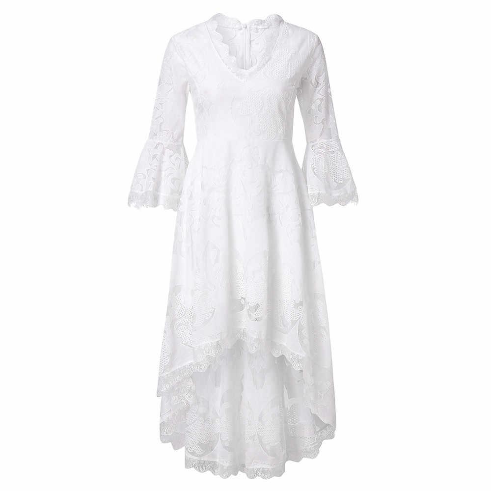 ZOGAA, белые кружевные вечерние платья для женщин, 2019, женские элегантные летние длинные платья в стиле бохо, платье для женщин, богемное платье