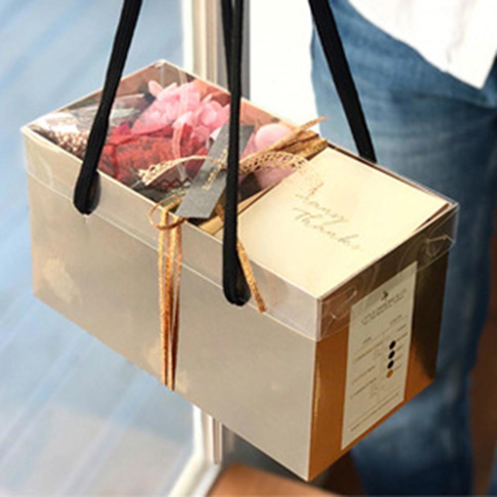 Empty Portable Flower Dessert Gift Box Packaging Paper Basket Gifts Folding Paper Box Florist Supplies DIY Wedding Party Craft
